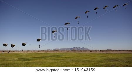 Compilation of Skydivers approaching for landing to show path