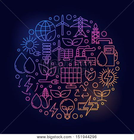 Alternative energy bright illustration. Vector round creative alternative energy sources sign on dark background