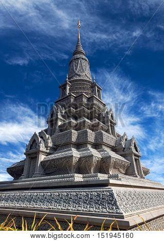 Stupa Of His Majesty Ang Duong Near The Silver Pagoda In Phnom Penh, Cambodia