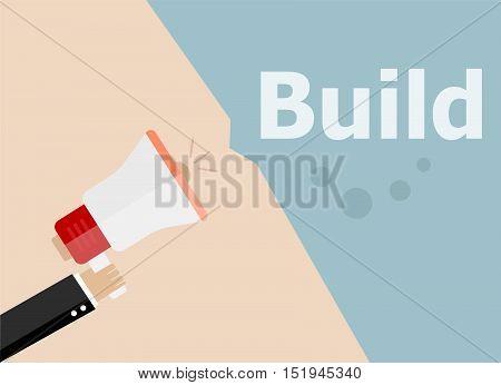 Flat Design Business Illustration Concept. Build. Digital Marketing Business Man Holding Megaphone F