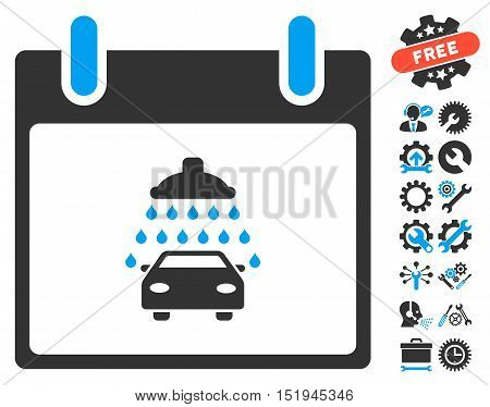 Car Shower Calendar Day icon with bonus tools clip art. Vector illustration style is flat iconic symbols, blue and gray, white background.