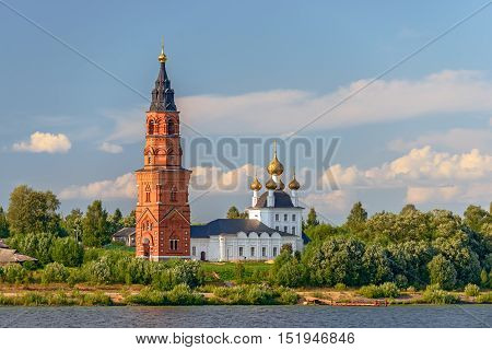 Old orthodox cathedral on bank of the Volga river in Russia