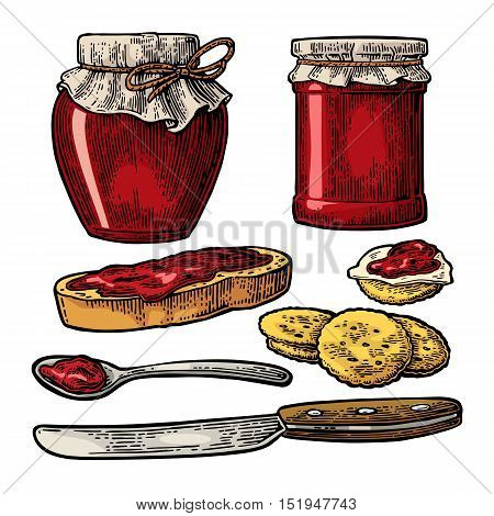 Jar with packaging paper, spoon, knife and slice of bread with jam. Isolated on white background. Vector color vintage engraving illustration for menu