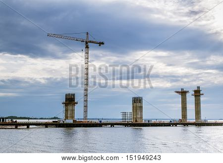 Saint-Petersburg.Russia.Aug 10 2014.View of the construction of the ring road on Kanonersky island in St. Petersburg.