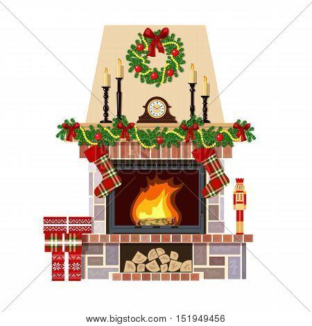 Flaming Christmas fireplace. Xmas decoration, flat vector illustration. Cozy room at new year eve with clock, gifts, candlesticks. For postcards, greetings, prints, textile, web background banner