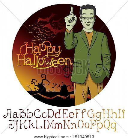 Cartoon Frankenstein vector. Halloween font set.