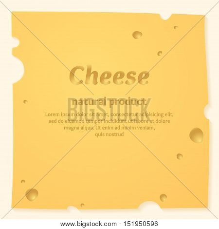 Beautiful cheese background. Template for sale of dairy products. Vector illustration.