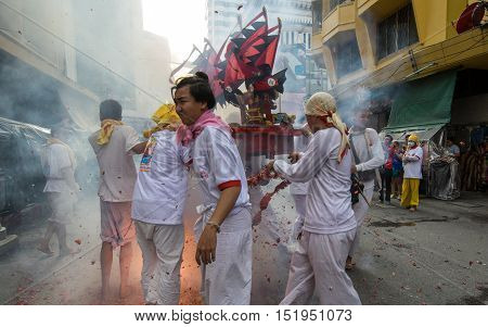 Hatyai,  Songkhla Vegetarian Festival in Thailand  Date  Oct. 7, 2016. People celebrate a vegetarian festival during the festival ritual mortification is practiced to appease the Gods.Action photography Capturing movement.