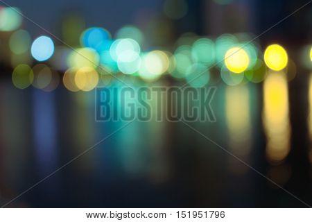 Night lights of the Hong Kong , bokeh blured light