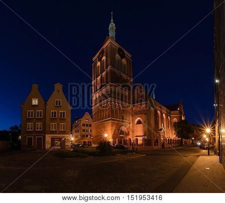 Panorama of The Church and houses in Gdansk Poland