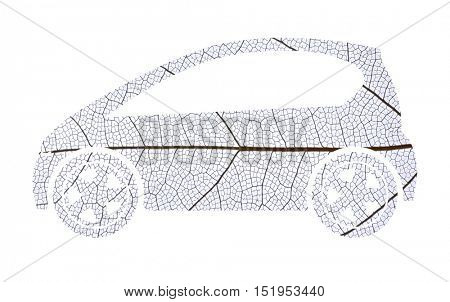 Car silhouette made of leaf skeleton on white background. Eco vehicle concept.