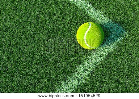 Tennis ball in The Corner Court, Tennis ball on green grass. 3D illustration