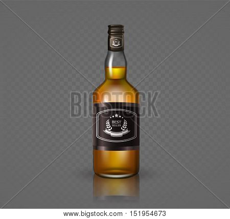 Glass brandy , bottle with screw cap, isolated on black background. Vector illustration.