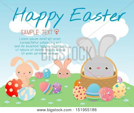 Happy Easter,cute Easter rabbits with Easter eggs, bunny with colorful easter eggs on grass, bunny and Easter eggs,rabbit and Easter eggs on background, Happy Easter greeting card,Vector illustration.