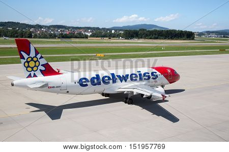 ZURICH - July 30:  Plane preparing for take off at Terminal A of Zurich Airport on July 30, 2016 in Zurich, Switzerland. Zurich airport is home port for Swiss Air and one of the european hubs.