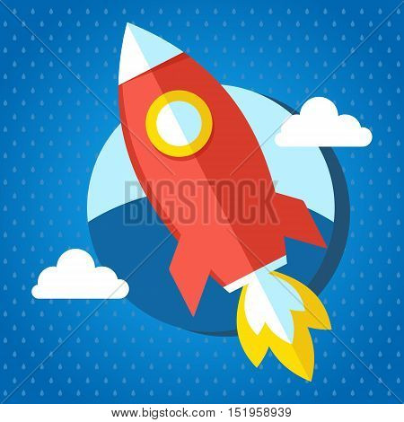 Rocket ship travel to the space. Rocket launch.Project start up and development process. Innovation idea. Management. Flat vector cartoon rocket illustration. Objects isolated on a white background.