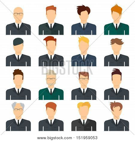 Business man appearance icons. People flat icons collection. Business man head. Flat cartoon illustration. Objects isolated on a white background.