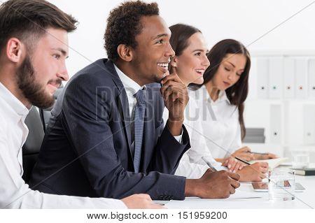 People Enjoying Meeting