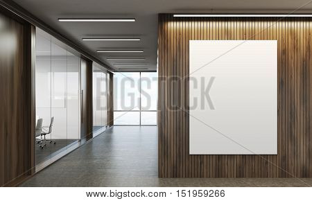 Corridor of company with wooden walls vertical poster and conference room with glass walls. 3d rendering. Mock up. Toned image