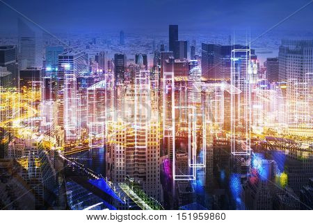 Magnificent large city panorama at night with skyscrapers and orange light. Concept of living in a megapolis. Toned image. Double exposure