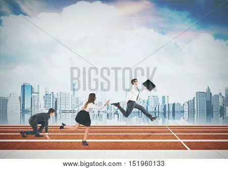Side view of business people on the finish line with road sign and cloudy sky and cityscape in the background. Concept of competition in office. Mock up poster