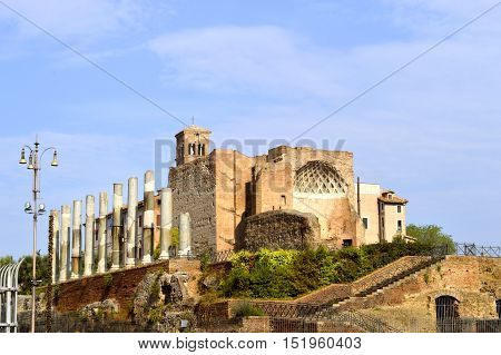 Rome Italy - September 12 2016 : The historical Temple of Venus and Rome in Rome