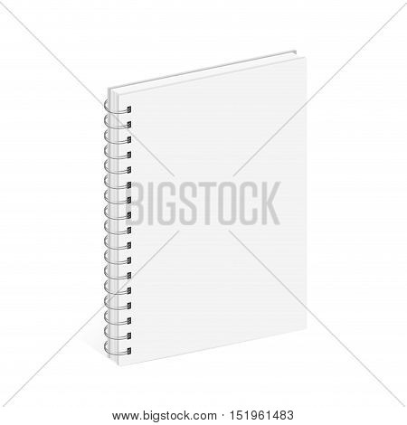 Blank Spiral Notebook Template. White covers. Isometric view on white background. Realistic mockups. Vector illustration