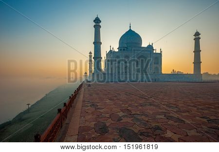 Image of Taj Mahal at sunrise Agra India