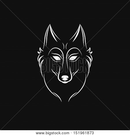 Wolf silhouette. Vintage wolf face logo emblem template for business or t-shirt design. Vector wolf Vintage Design Element. Wolf logo. Wolf icon. White silhouette wolf.