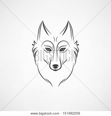 Wolf silhouette. Vintage wolf face logo emblem template for business or t-shirt design. Vector wolf Vintage Design Element. Wolf logo. Wolf icon. Black silhouette wolf.