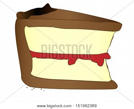 A slice of cake in cartoon style over a whte background