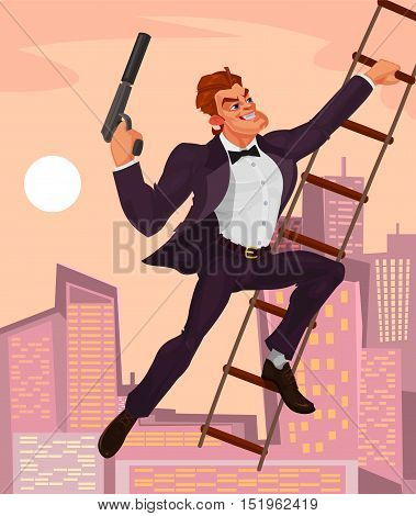Vector illustration of a secret agent with a gun in his hand climbs the ladder