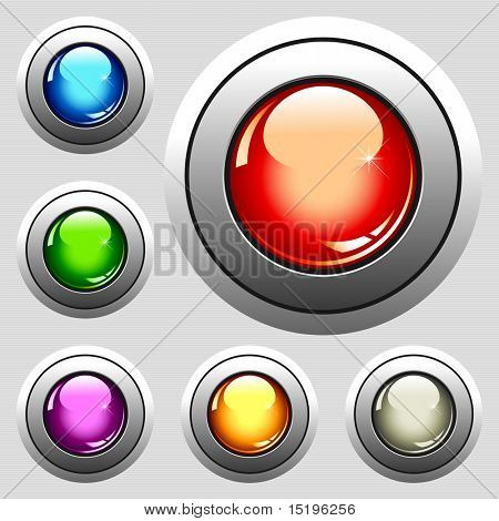 six realistic glossy buttons - vector illustration
