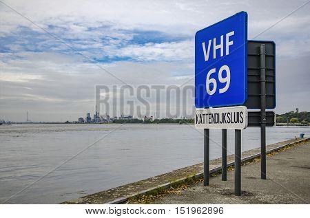 Navigation pointer pier on the river Scheldt in Antwerp.