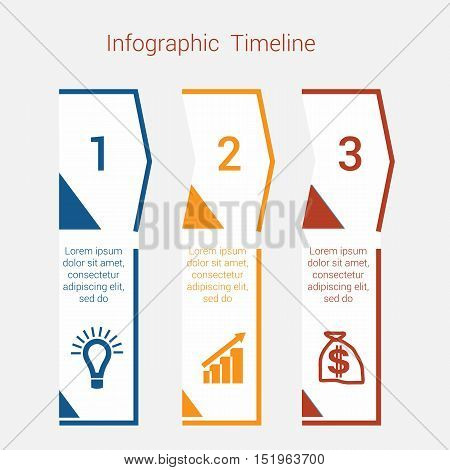 Timeline Infographic colored arrows from lines. Area chart Business Infographic template with text areas for three position Eps file is layered and fully organised objects are grouped
