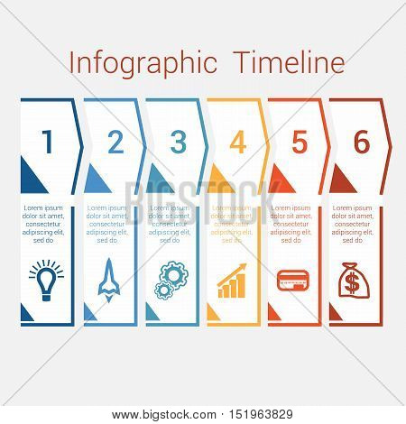 Timeline Infographic colored arrows from lines. Area chart Business Infographic template with text areas for six position Eps file is layered and fully organised objects are grouped
