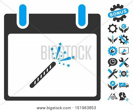 Sparkler Firecracker Calendar Day icon with bonus setup tools icon set. Vector illustration style is flat iconic symbols, blue and gray, white background.