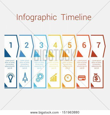 Timeline Infographic colored arrows from lines. Area chart Business Infographic template with text areas for seven position Eps file is layered and fully organised objects are grouped