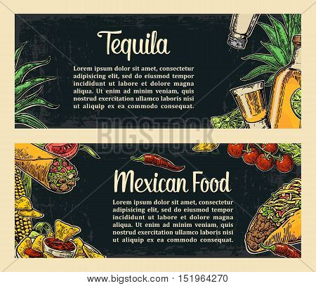Mexican traditional food restaurant menu template with traditional spicy dish. burrito tacos tomato nachos tequila lime. Vector vintage engraved illustration on dark background. For poster web
