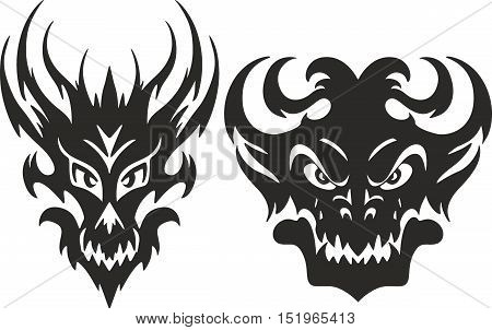Set of aggressive symmetrical tribal monster head tattoo sketches