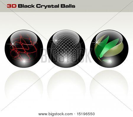 Black glossy refracting spheres - vector illustration