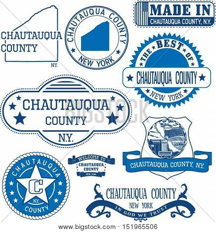 Chautauqua County, New York. Set Of Stamps And Signs.