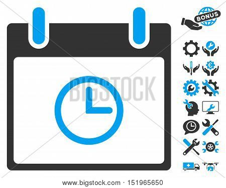 Time Calendar Day icon with bonus setup tools images. Vector illustration style is flat iconic symbols, blue and gray, white background.