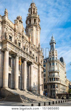 BARCELONA, SPAIN - SEPTEMBER 21. The main post office of the Ciutat Vella and Barcelona, the Edifici central de Correus i Telegrafs, close to the main street Via Laietana in Barcelona on September 21, 2016.