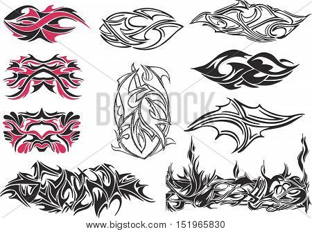 Set of symmetric and irregular black and red spiny ornaments and black and white tribal tattoos
