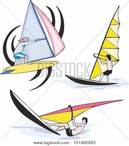 Set Of Sailing Sportsmen