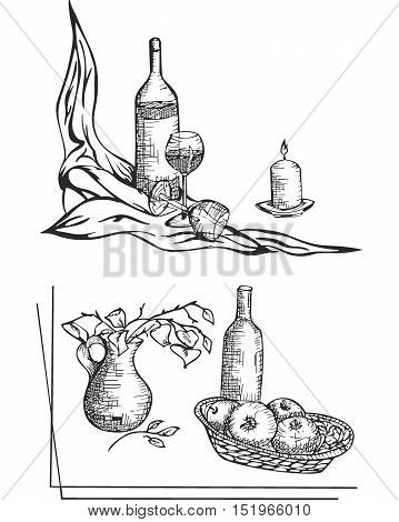 Two black and white still life sketches with bottles glasses candle apples and vase