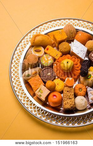 Mix Mithai or indian milk made sweets, favourite diwali, holi, dussehra, indian or pakistani wedding sweet food, diwali food