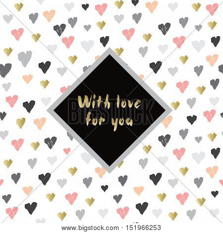 Light seamless pattern with hearts confetti on white background and label with text place. Romantic trendy Valentine day design for love card, valentine day greetings. Vector illustration stock vector.