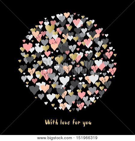 Dark circle with hearts confetti on black background. Romantic trendy Valentine day design for love card, valentine day greetings. Vector illustration stock vector.